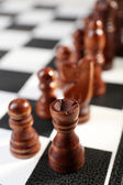 Chess board with chess pieces close-up — Stock Photo