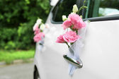 Wedding car decorated with flowers — Photo