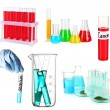 Collage of different laboratory glassware isolated on white — Stock Photo #49761941