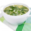 Delicious green soup with sorrel on table close-up — Stock Photo #49763697