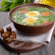 Delicious green soup with sorrel on table close-up — Stock Photo #49763717