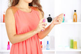 Woman testing perfume — Stock Photo