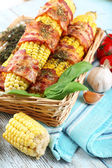 Grilled bacon wrapped corn — Stock Photo