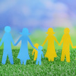 Paper family on green grass, close up — Stock Photo #49774177