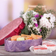 Present box with sweets — Stock Photo #49775589
