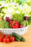 Fresh vegetables in wicker basket — Stock Photo