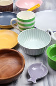 Different tableware background — Stock Photo