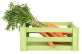 Fresh carrot in crate isolated on white — Stock Photo