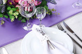Dining table setting with lavender flowers on wooden table background — Φωτογραφία Αρχείου