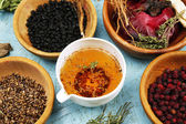 Traditional chinese herbal medicine ingredients, close-up — Stock Photo