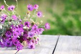 Beautiful wild flowers on table on bright background — Stock Photo