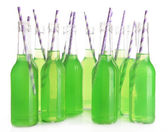 Bottles of drink with straw isolated on white — Foto Stock