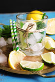 Fresh ingredients for mojito on old tray — Stock Photo