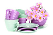 Bright dishes with flowers isolated on white — Photo