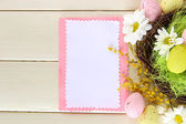 Empty card with easter eggs — Stock Photo