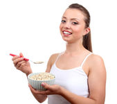 Girl with healthy food — Stock Photo