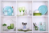 Kitchen utensils and tableware — Stock Photo