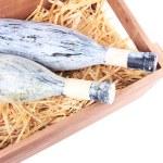 Bottles of wine in wooden box — Stok fotoğraf #49847785