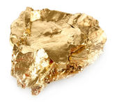 Golden nugget isolated on white — Stock Photo