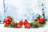 Composition of the Christmas decorations on light winter background — Foto de Stock