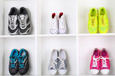 Colorful shoes on shelves — Stock Photo