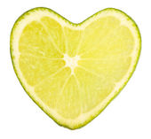 Lime in shape of heart, isolated on white — 图库照片