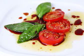 Balsamic vinegar with tomato — Stock Photo