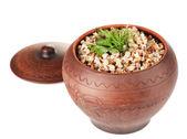 Trigo sarraceno com verdure em pote isolado no branco — Fotografia Stock