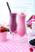 Delicious smoothie on table, close-up — Stock Photo