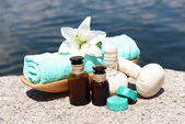Herbal remedies for massage, outdoor  — Stock Photo