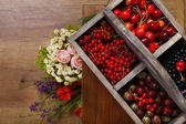 Fresh berries in wooden box — Stock Photo