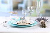 Dining table setting with lavender flowers — Foto Stock