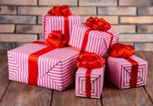 Beautiful gifts on table — Stockfoto