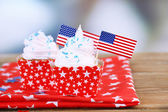 American patriotic holiday cupcakes — Stock Photo
