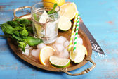 Fresh ingredients for mojito — Stock Photo