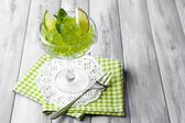 Green jelly with mint leaves — Stock Photo