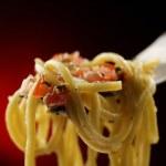 Italian pasta spaghetti on fork — Stock Photo #49964437