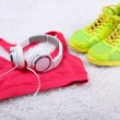 Sport clothes, shoes and headphones — Stock Photo #49964509