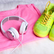 Sport clothes, shoes and headphones — Stock Photo #49964511