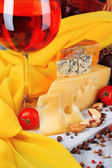 Different kinds of cheese with wine — Stock Photo