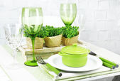 Trendy table setting in restaurant — Stock Photo
