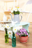 Home interior decoration with flowers — Stock Photo