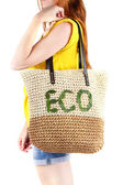 Woman with wicker Eco bag — 图库照片