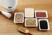 Variety of different sea salt — Stock Photo