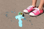 Ice cream fell on asphalt — Stock Photo