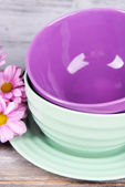 Bright bowls with flowers — Stock Photo