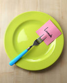 Note paper with message on fork — Stock Photo