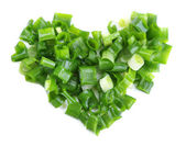 Heart shape of chopped green onion — Stock Photo