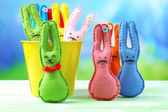 Funny handmade Easter rabbits — Stock Photo