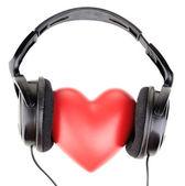 Słuchawki i serca — Zdjęcie stockowe